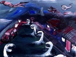 Predatory Tunicate Street acrylic by Janelle Pereyda draft 1